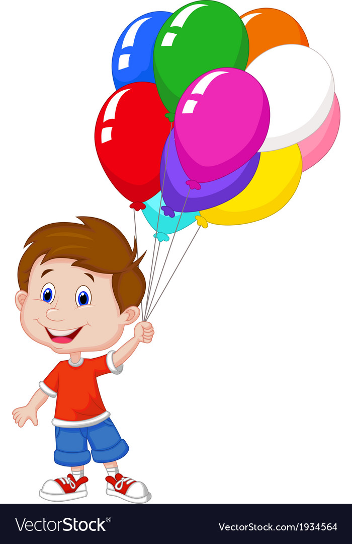 Cartoon Boy With Bunch Of Colorful Balloons In His