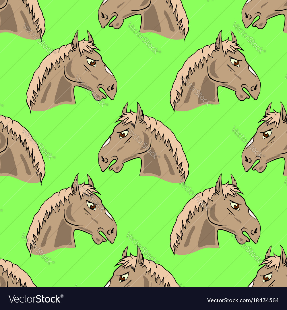 Colored Horse Head Seamless Pattern Royalty Free Vector