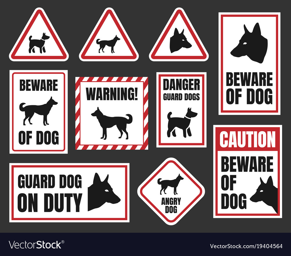 Danger Dog Signs Beware Of Vector Image