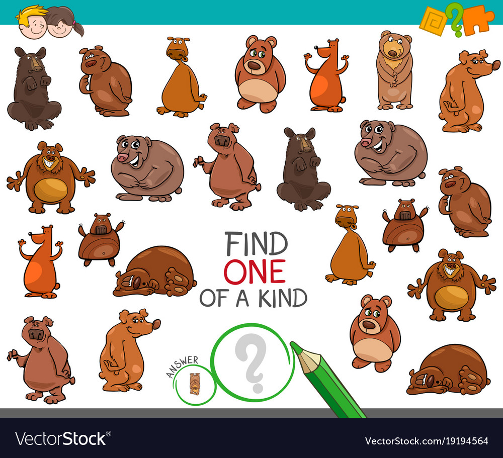 Find one a kind with bear animal characters