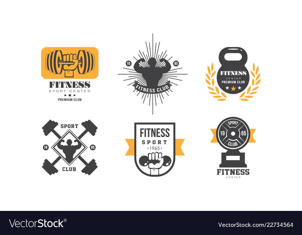 Fitness club logo design set retro emblem for
