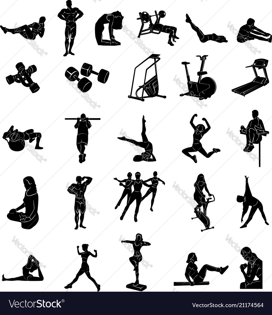 Fitness people silhoulette