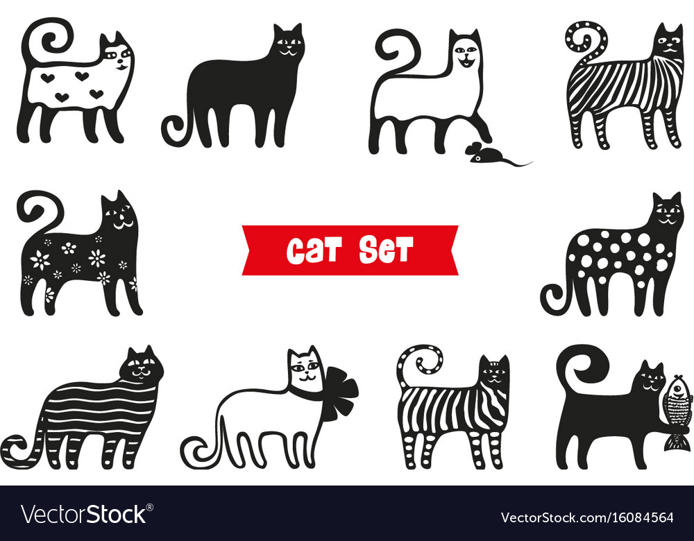 Funny cats set black cats silhouette collections