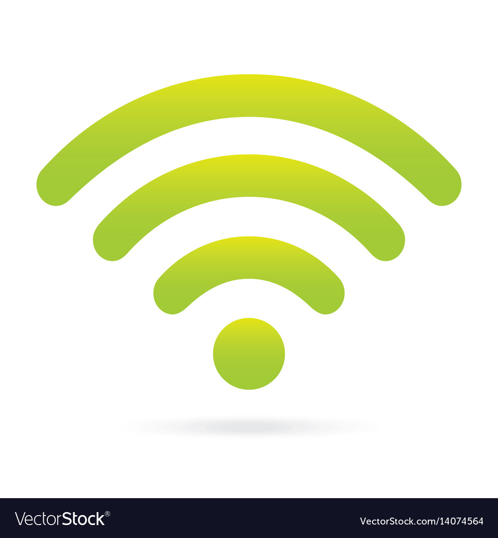 Green wifi icon wireless symbol on isolated