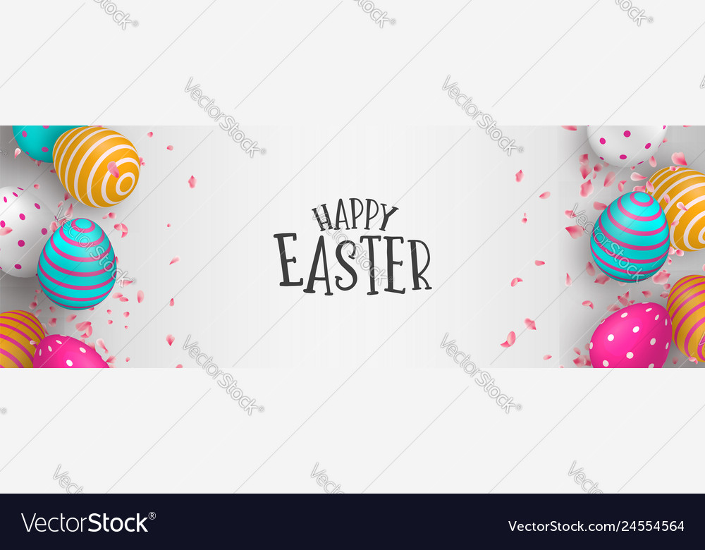 Happy easter web banner of eggs and spring flower