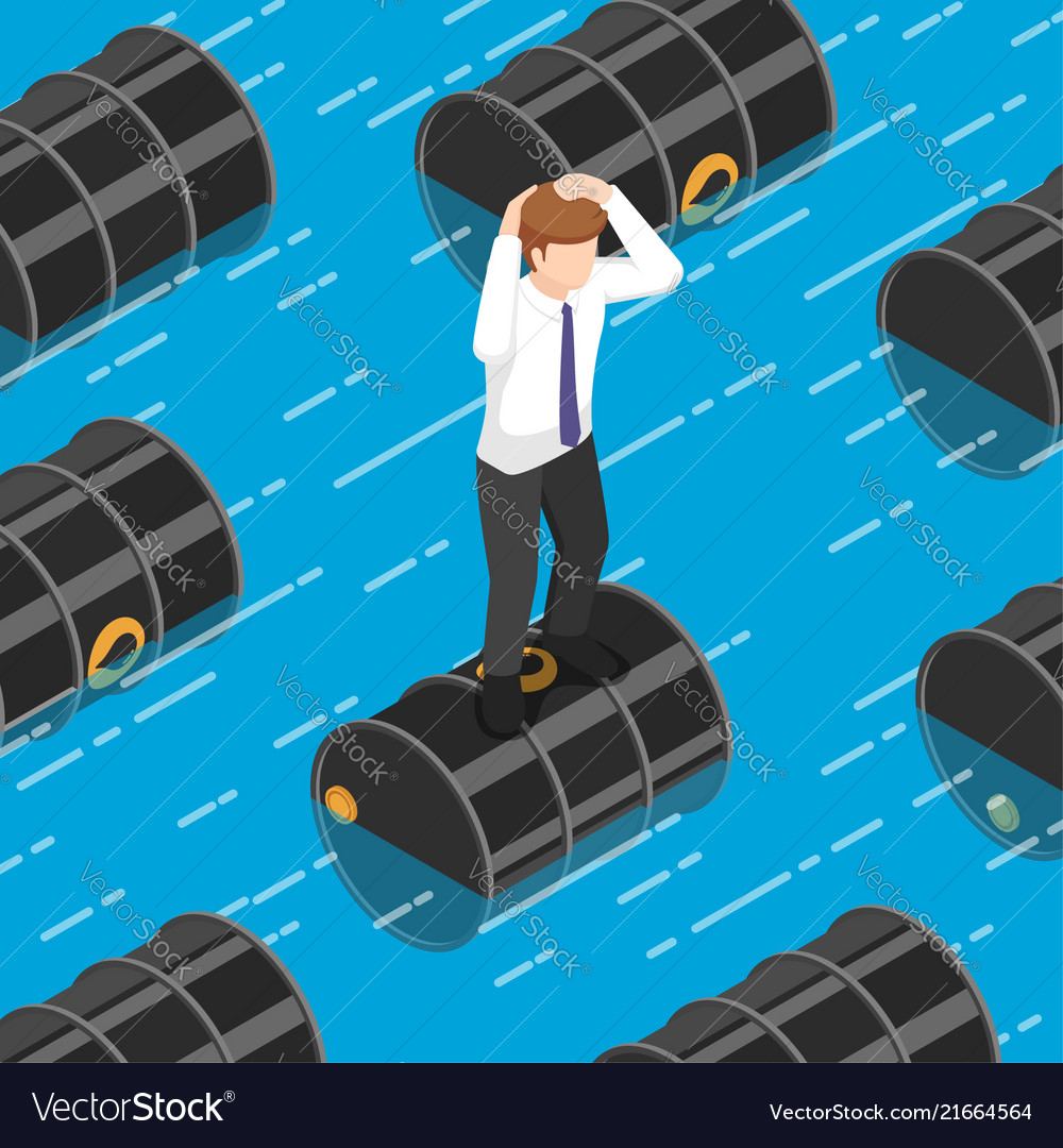 Isometric businessman standing on oil barrel in