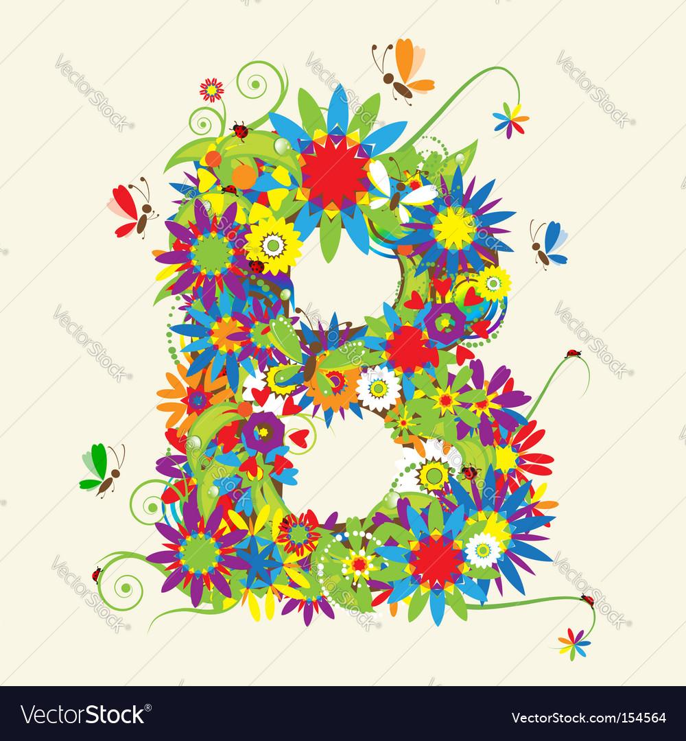 Letter B Floral Design Royalty Free Vector Image