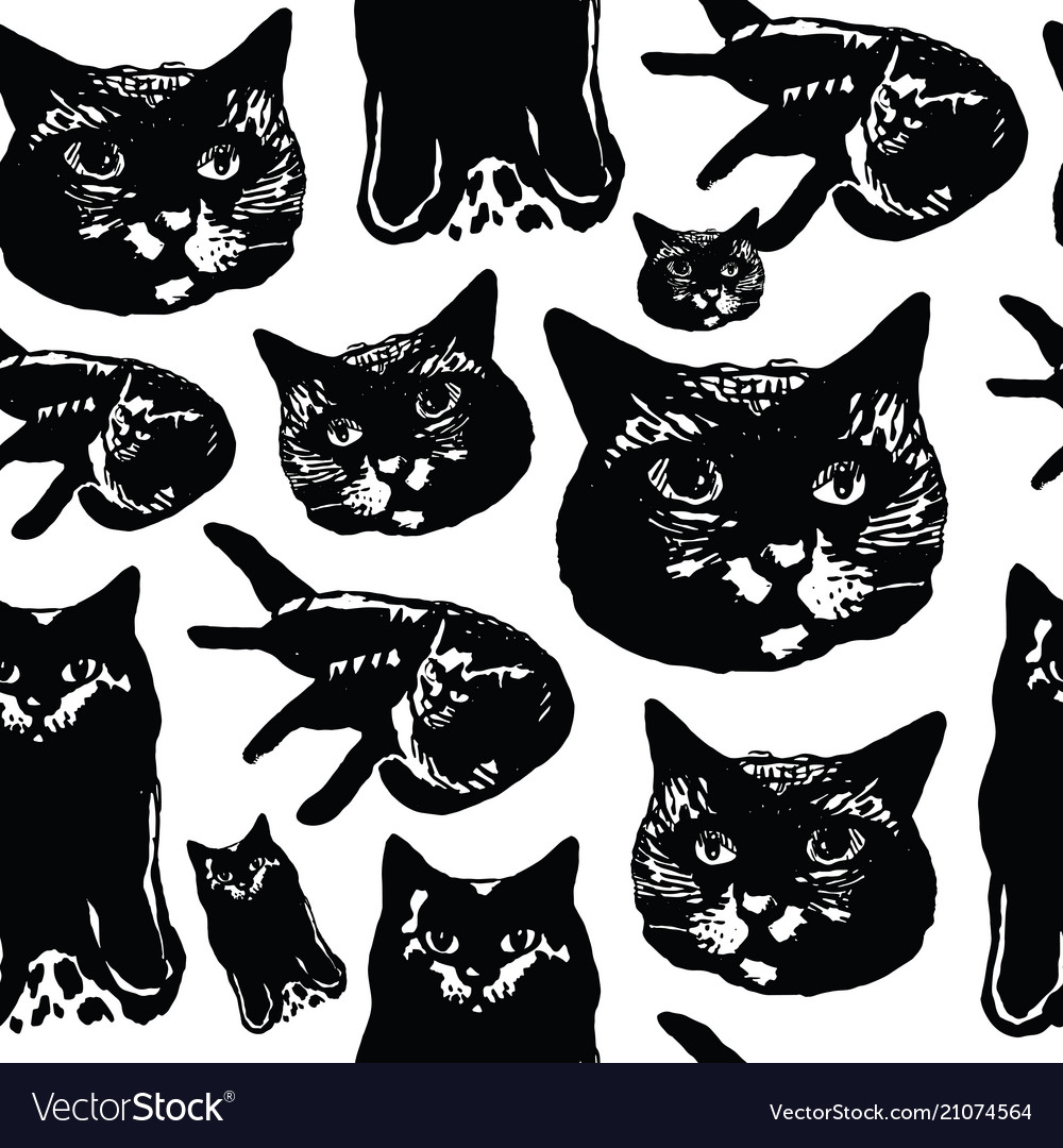 Seamless pattern with ink graphic elements - cats