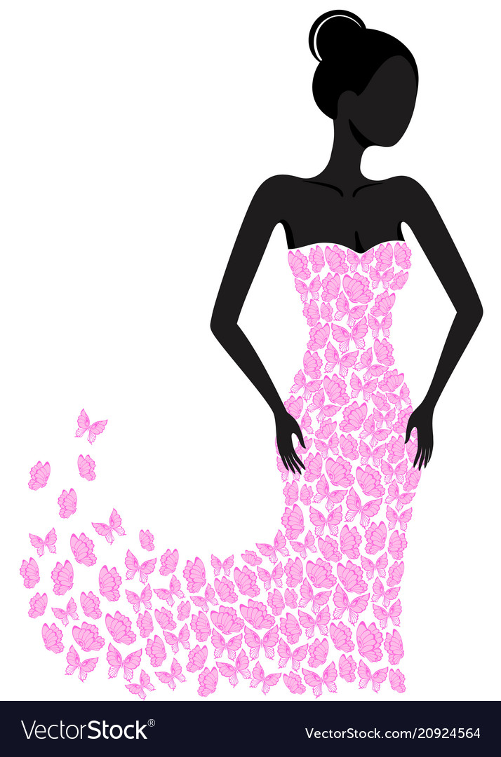 Silhouette of a girl in a flying apart dress
