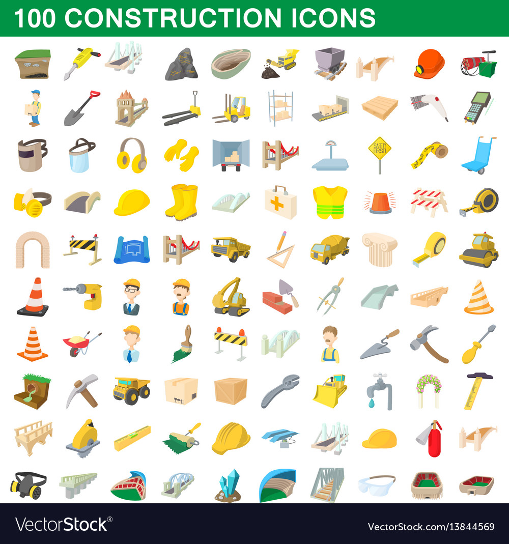 100 construction icons set cartoon style