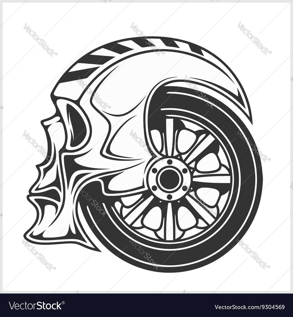 biker skull racing symbol royalty free vector image