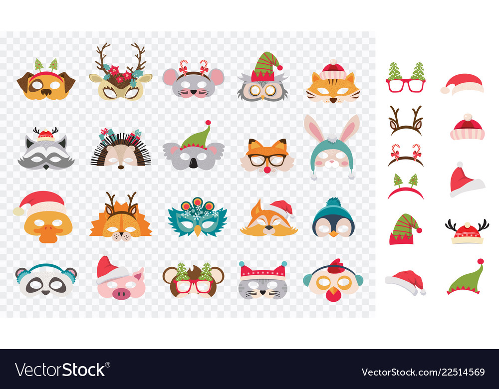 Collection winter animal masks and christmas vector