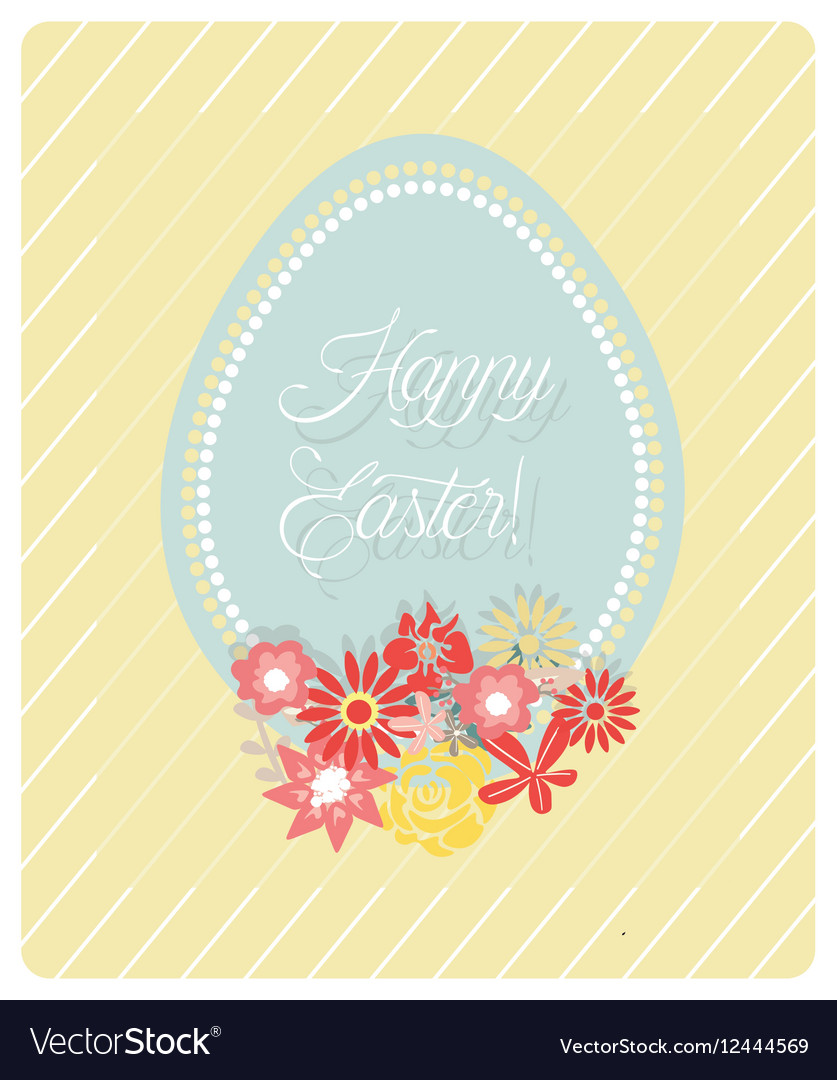 Cute Easter Egg and flowers card