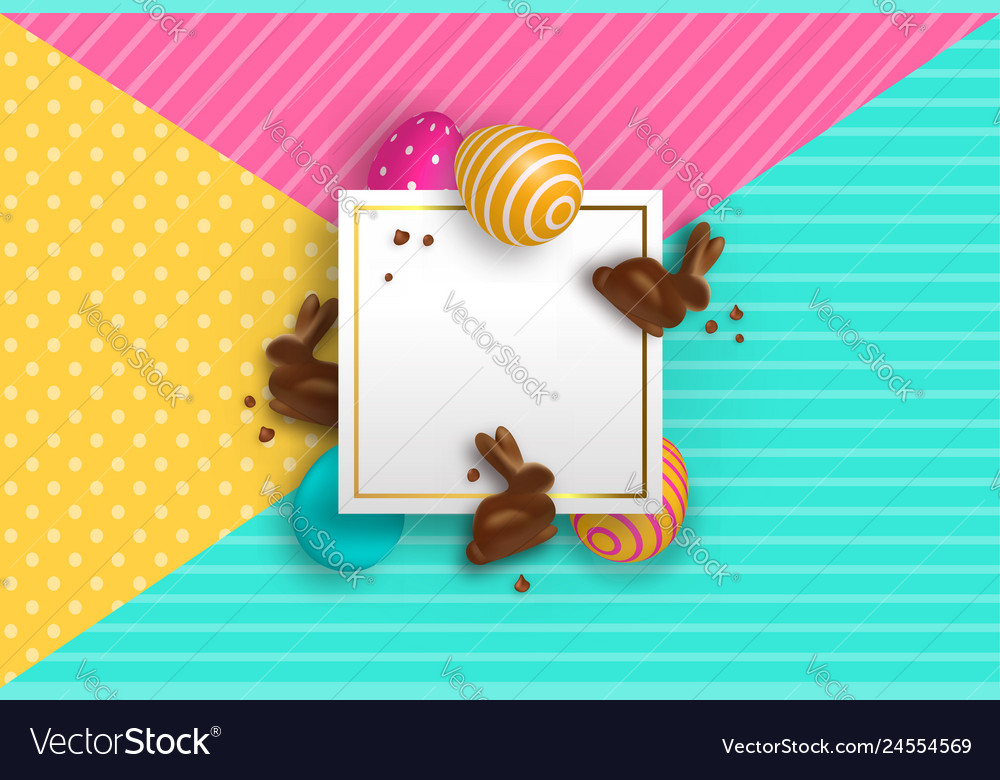 Easter card template with chocolate bunny and eggs