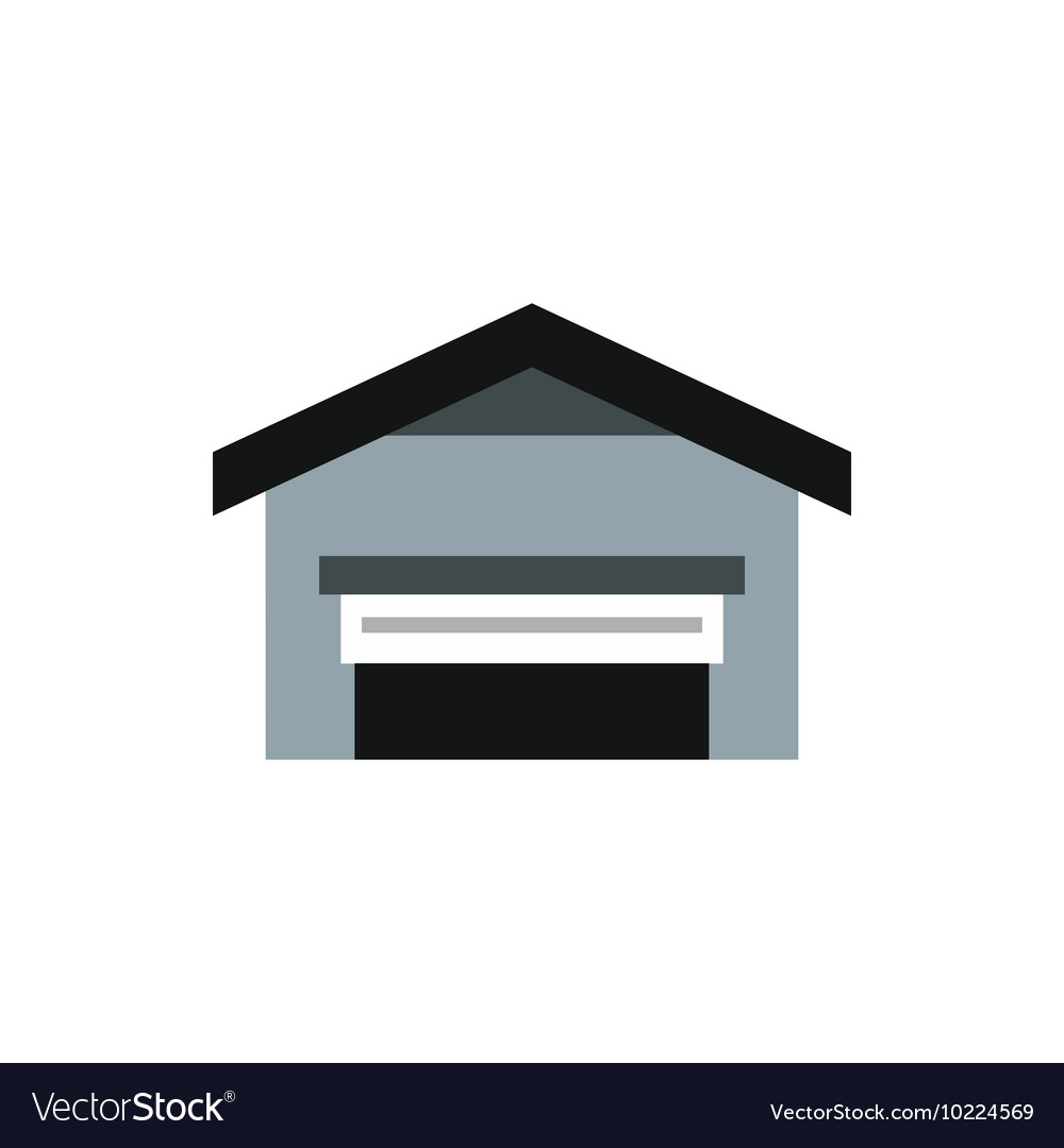 Garage With Roof Icon Flat Style Royalty Free Vector Image