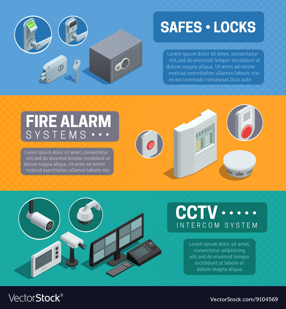 Home Security System Isometric Banners Set