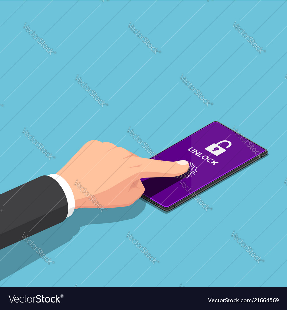 Isometric businessman use on display fingerprint
