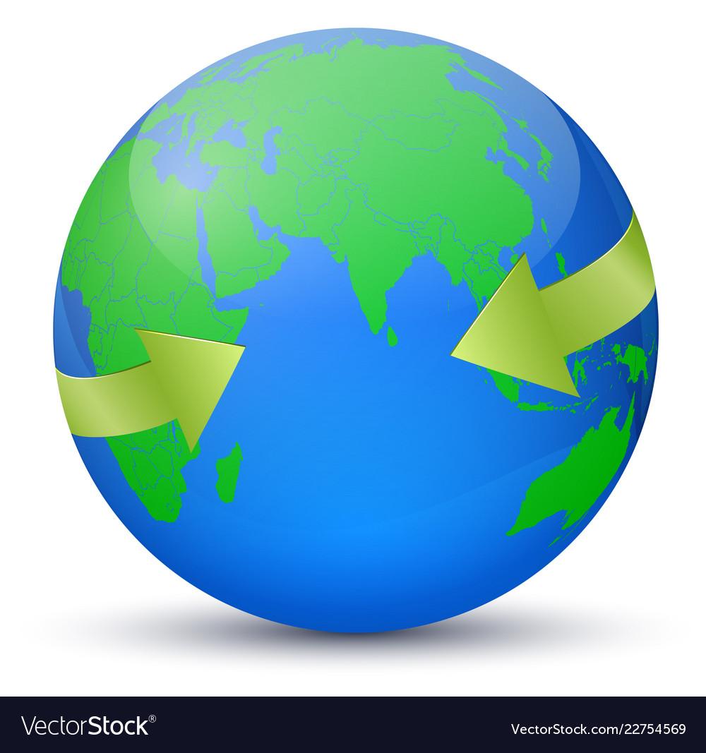 Map europe on globe arrows around the
