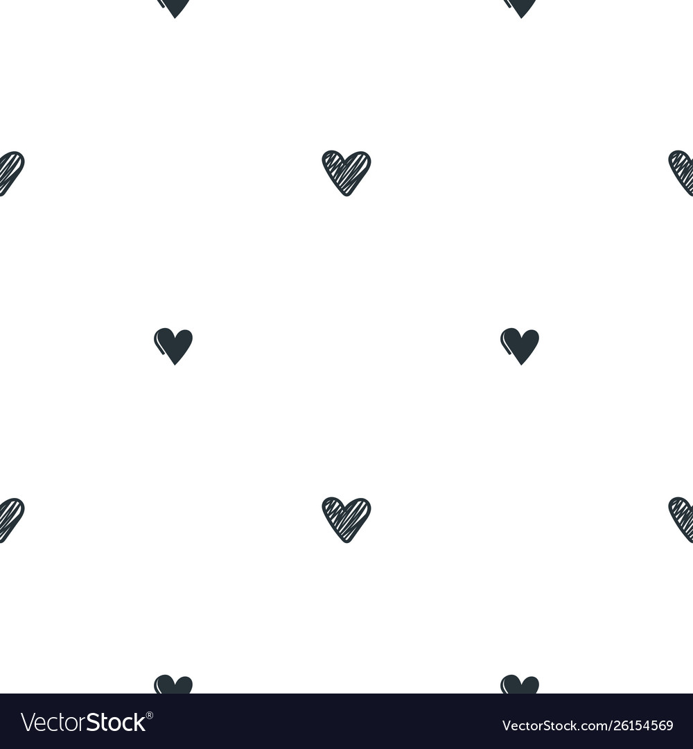 Seamless pattern with black hand drawn hearts