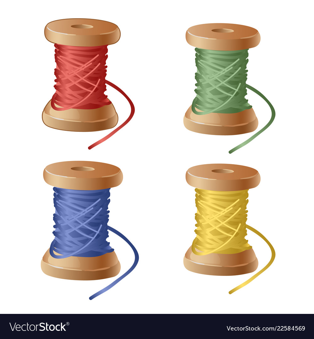 Set of spool of cartoon colorful thread equipment