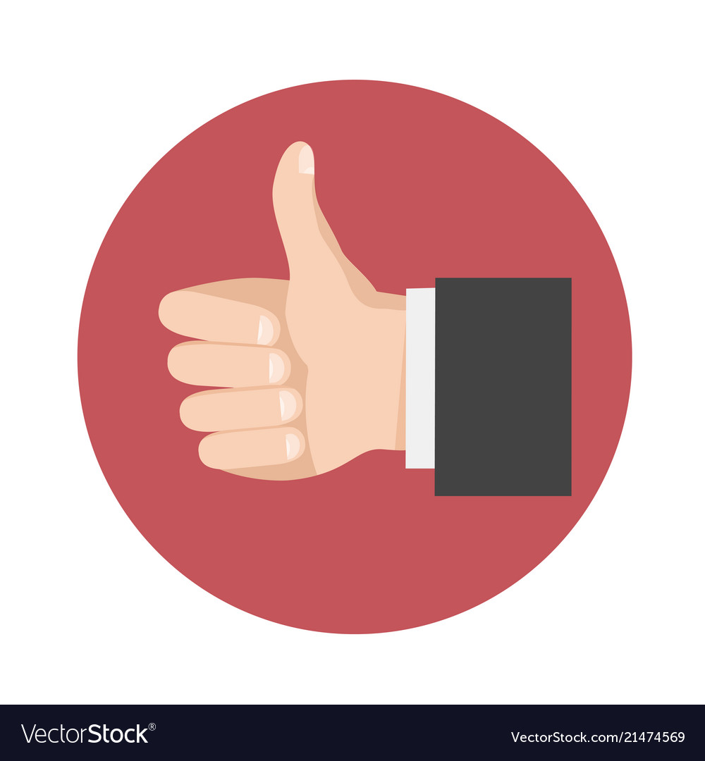 Thumbs up icon symbol in flat style