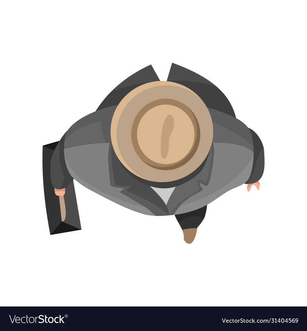 Top view people businnesman with hat and bag on