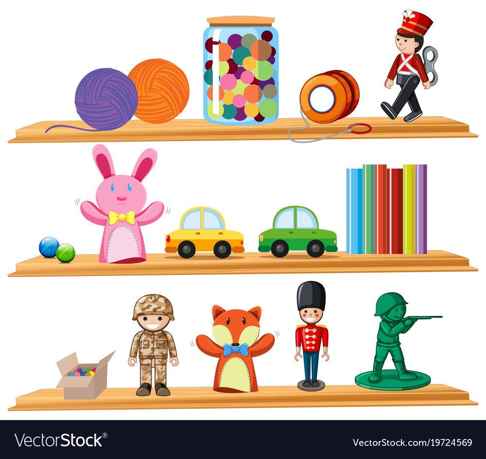 Toys and books on wooden shelves vector image