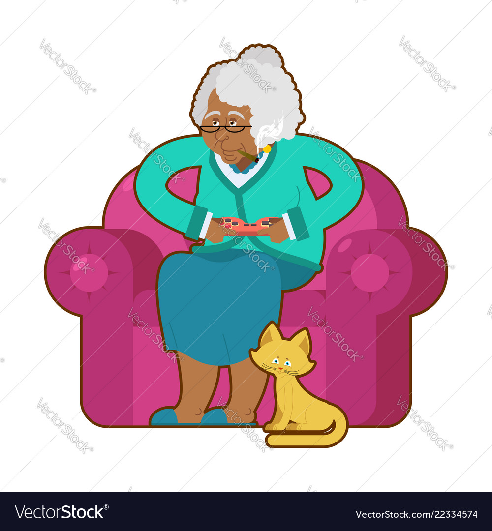 African american grandmother and joystick black