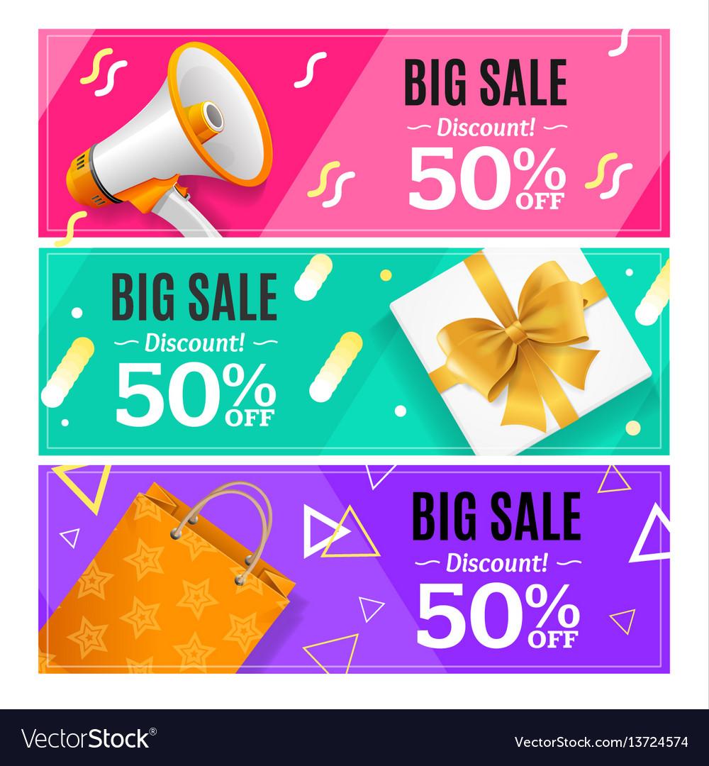 Big sale banner card horizontal set