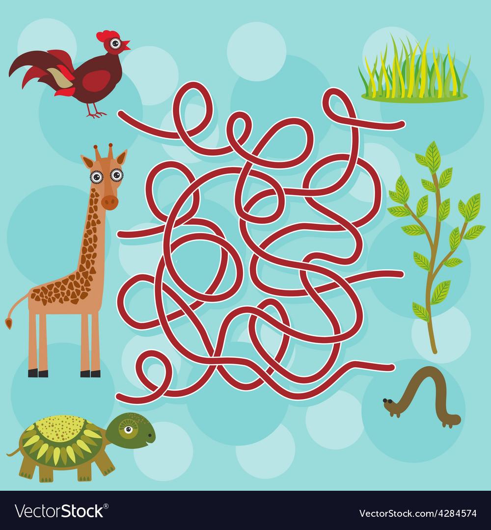 Chicken giraffe turtle labyrinth game for