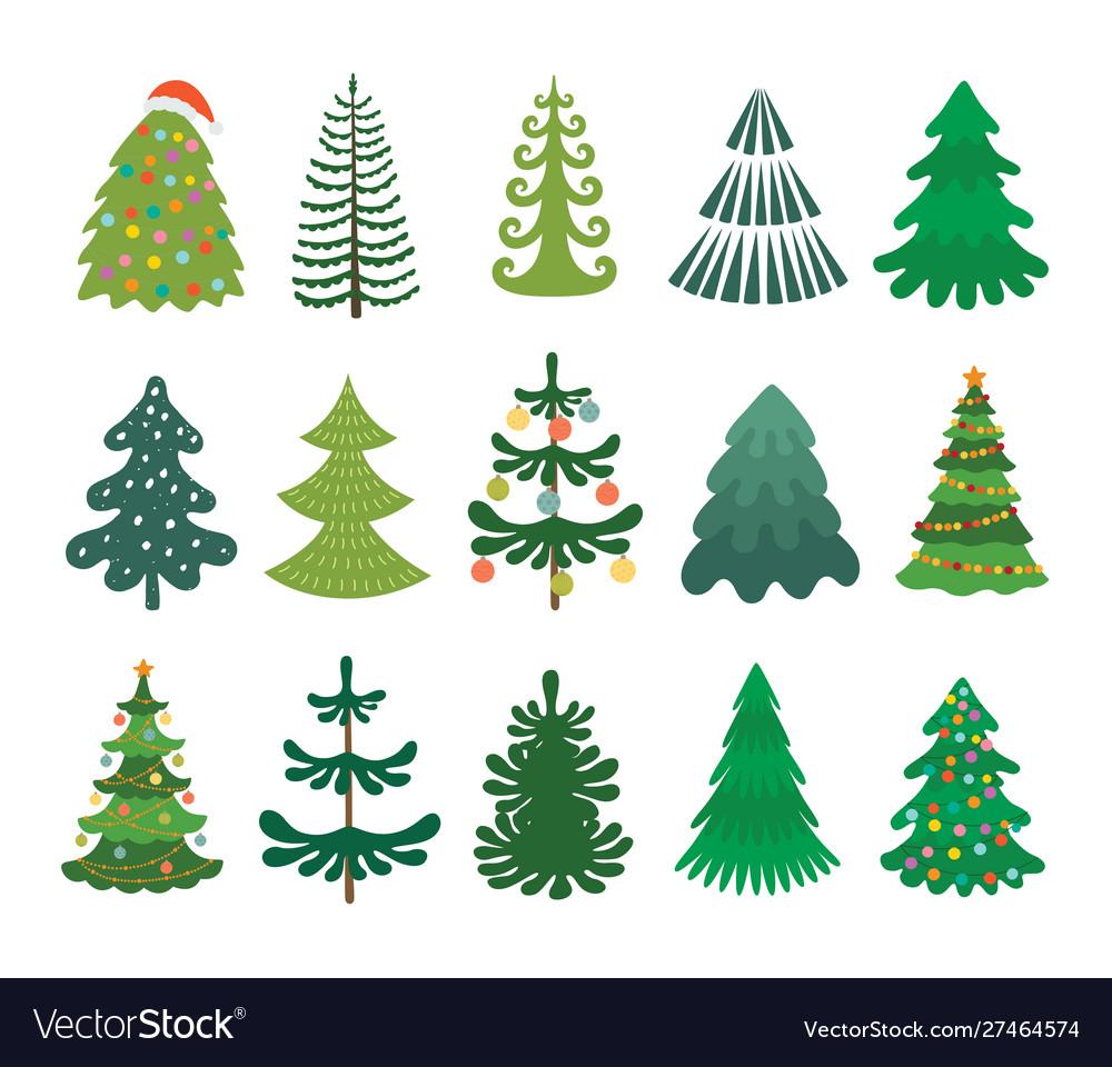 Christmas tree set decorated xmas trees winter