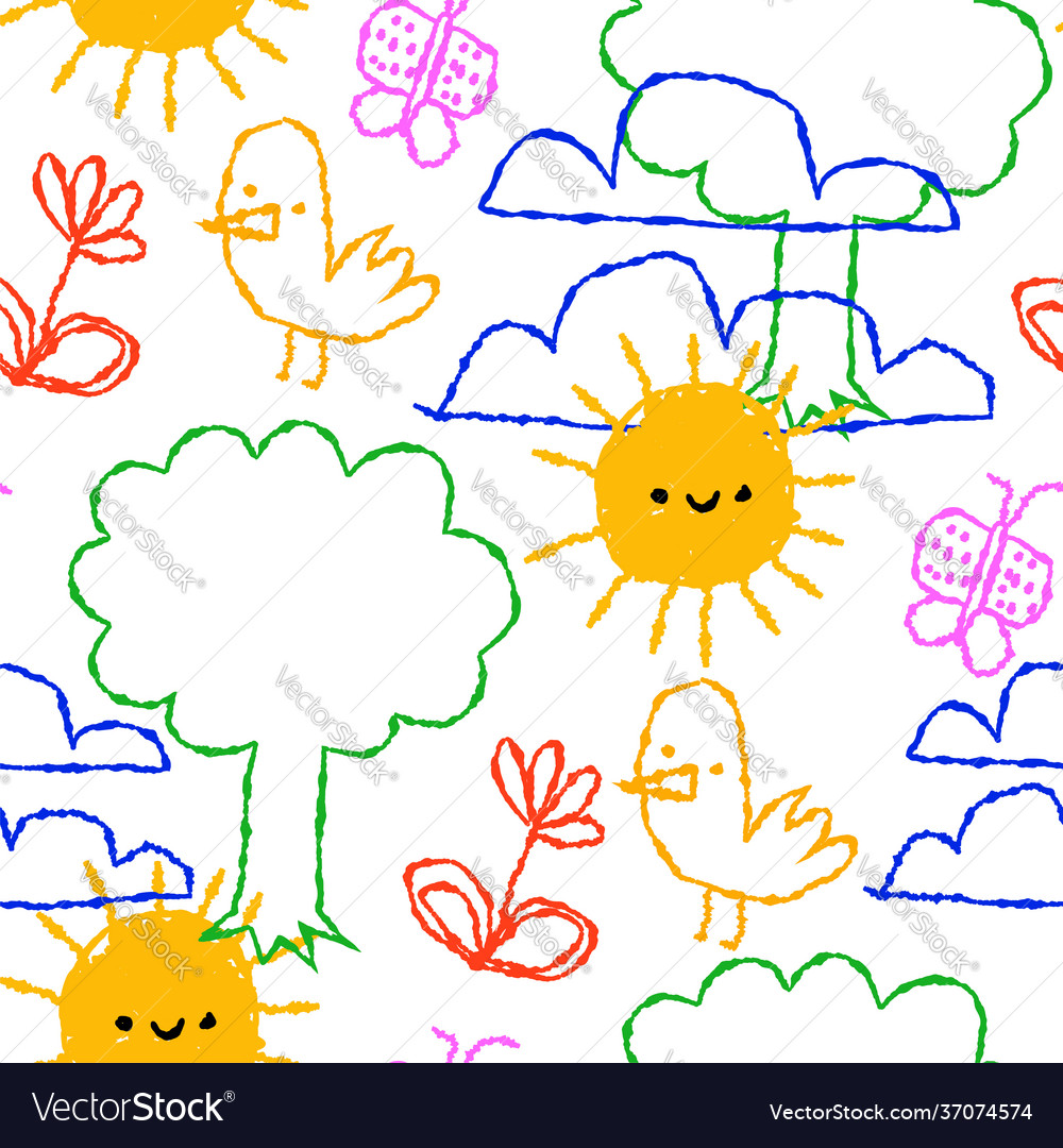 Colorful children doodle cartoon seamless pattern