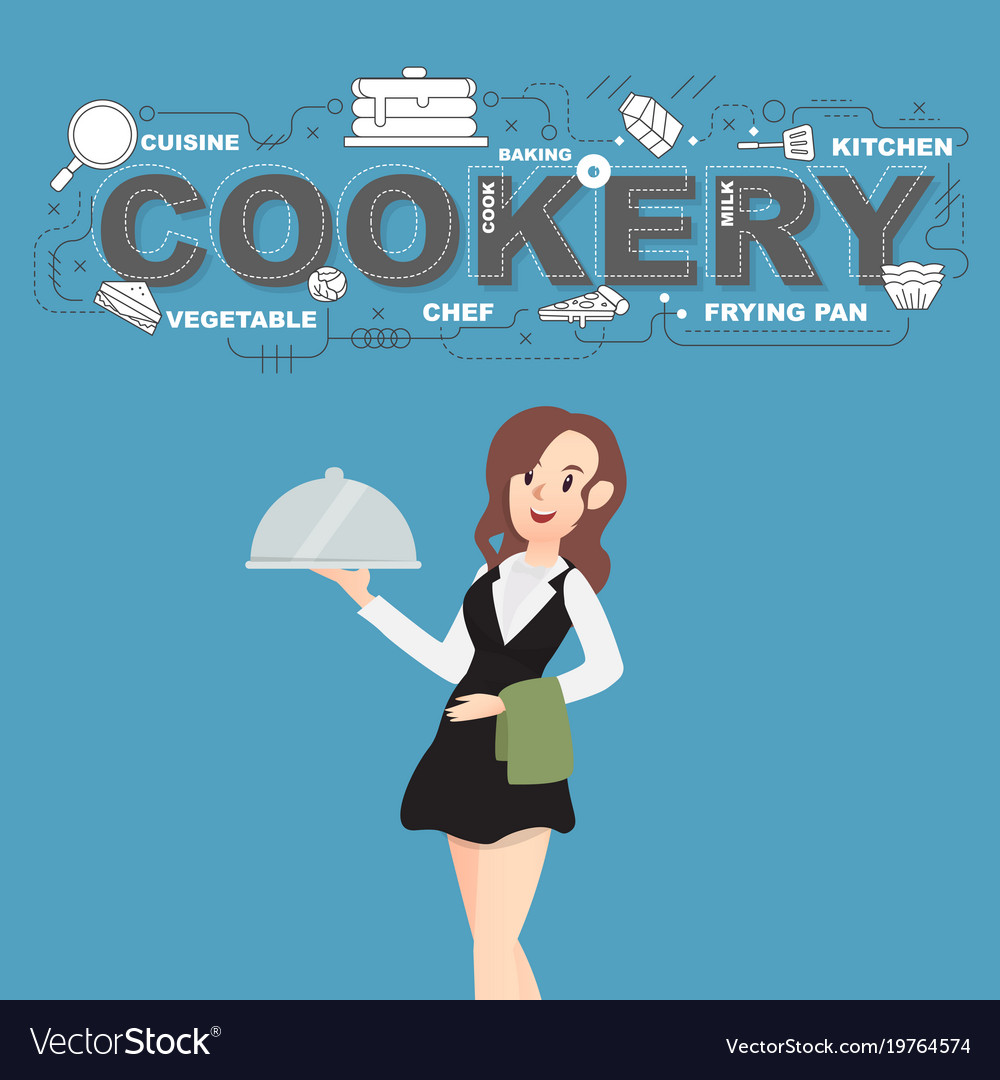 Cookery with napkin and food icons design