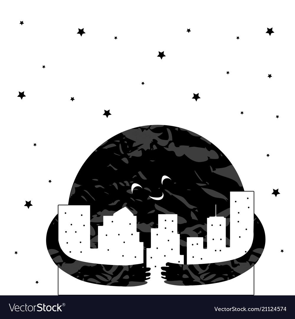 Cute cartoon moon in the night city
