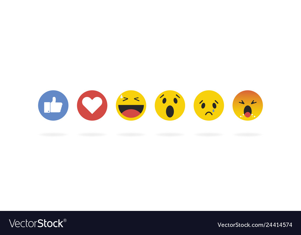 Emoji emoticon in flat style set icons social