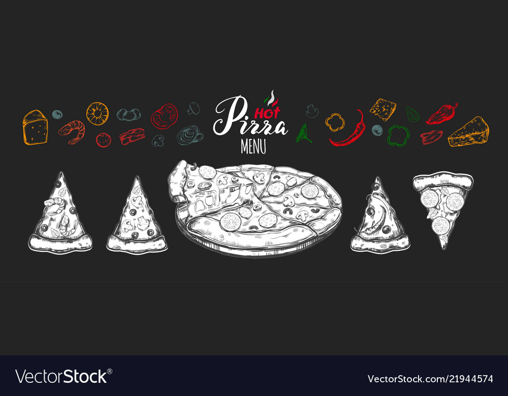 Hot pizza set with ingredients and different types