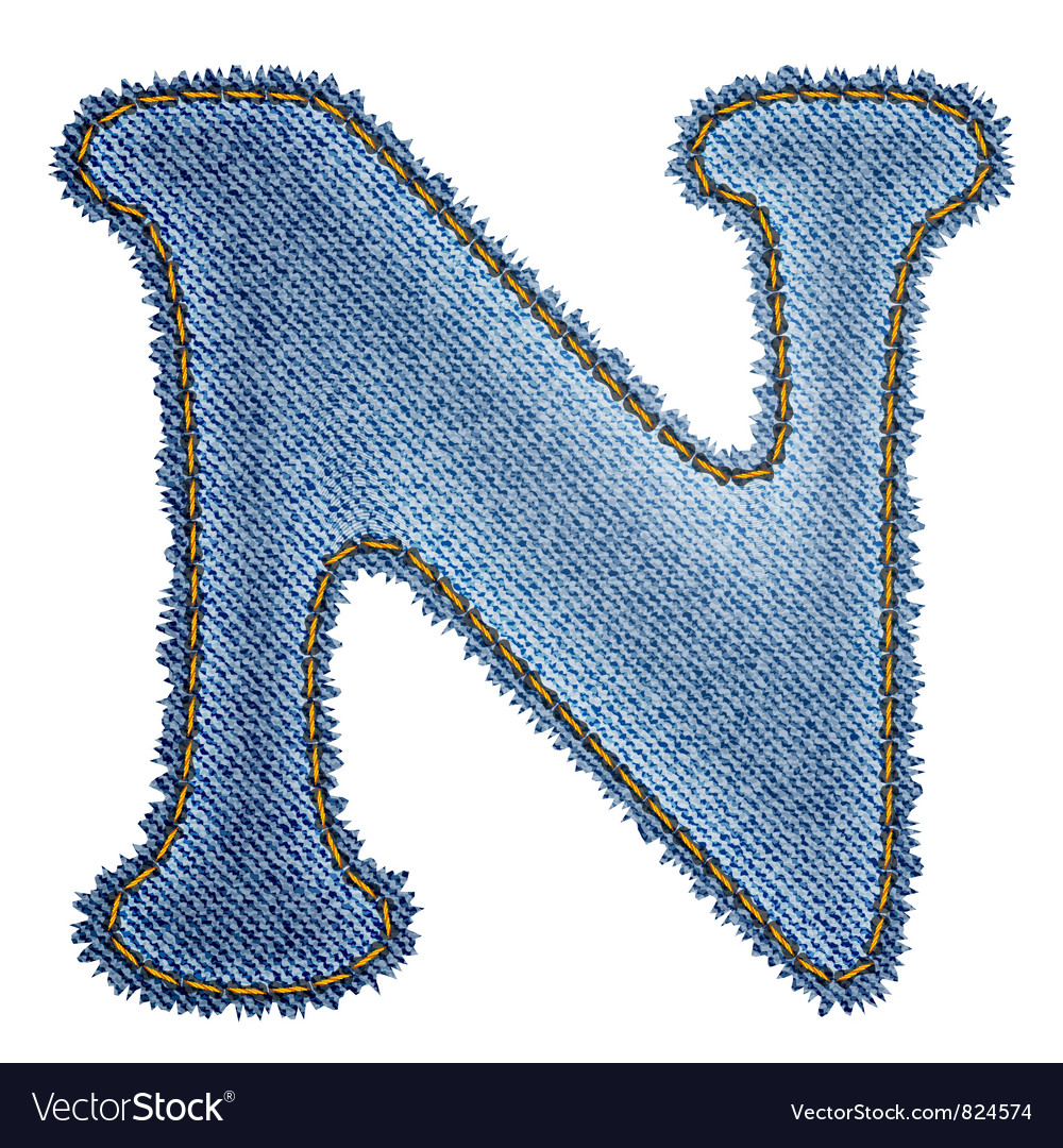 Jeans alphabet Denim letter N