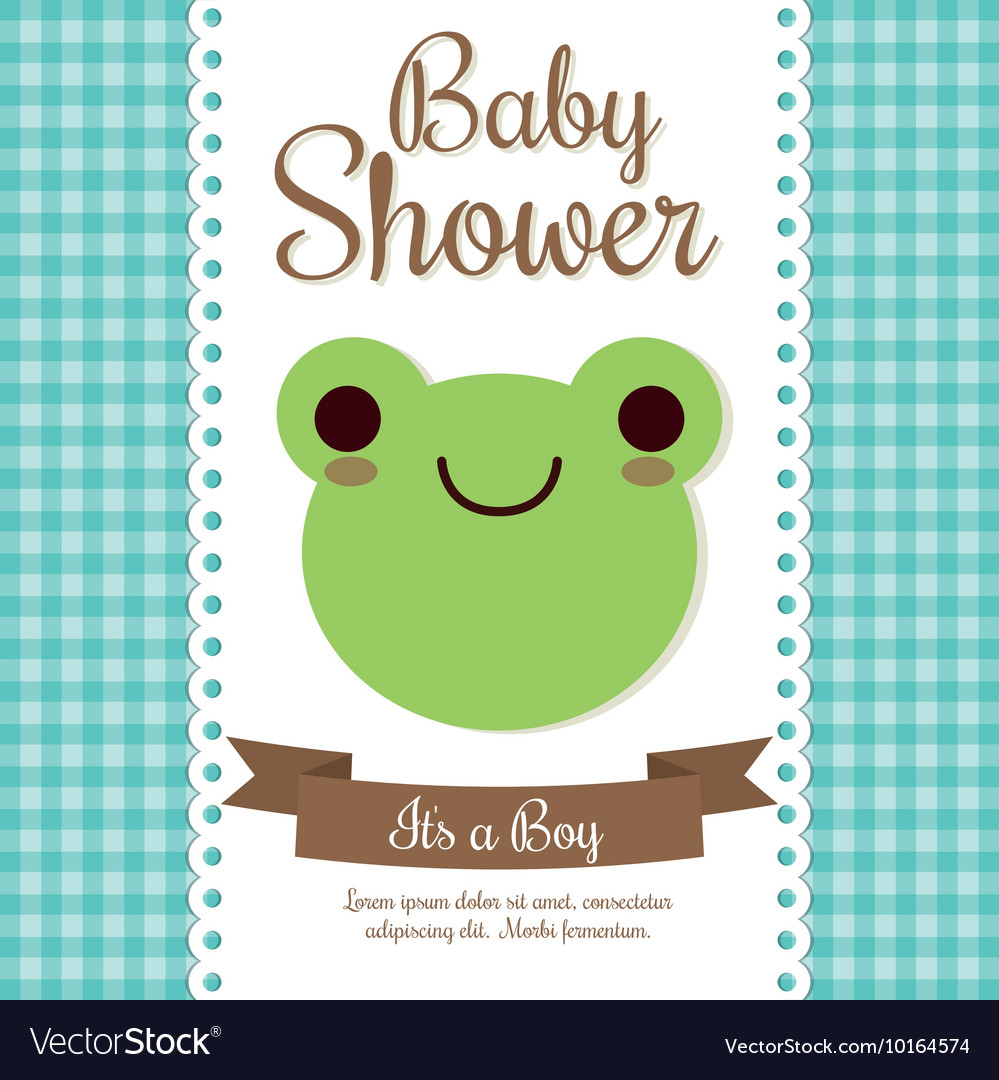 Kawaii Frog Baby Shower Design Graphic Vector Image