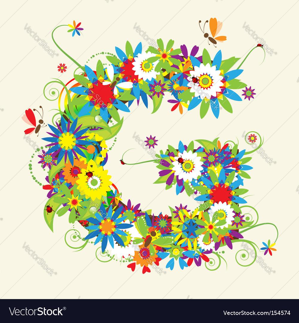 Letter G floral design Royalty Free Vector Image