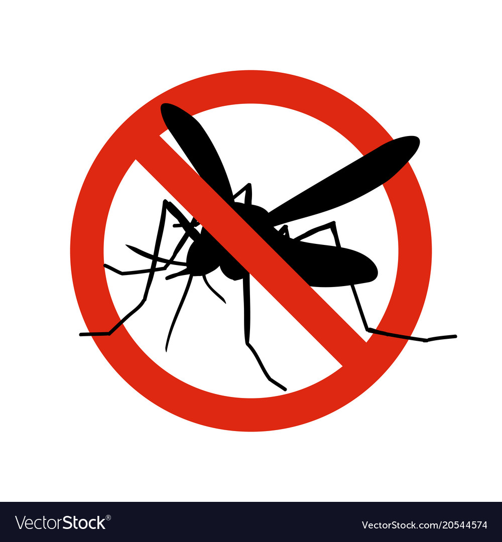 Mosquito warning prohibited sign anti mosquitoes vector image