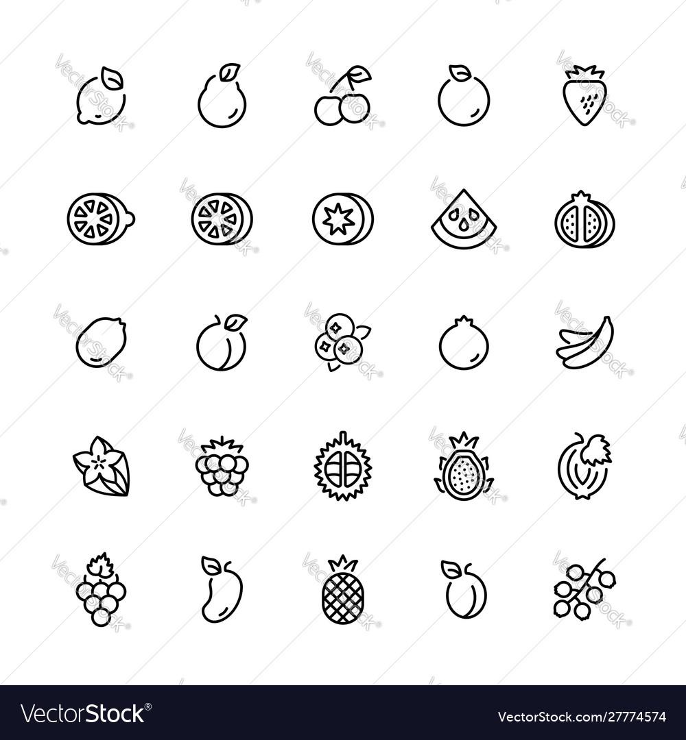 Outline icon set fruits symbols