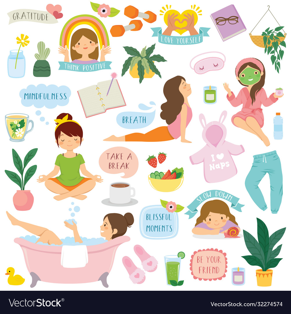 Self care and well-being clipart set Royalty Free Vector