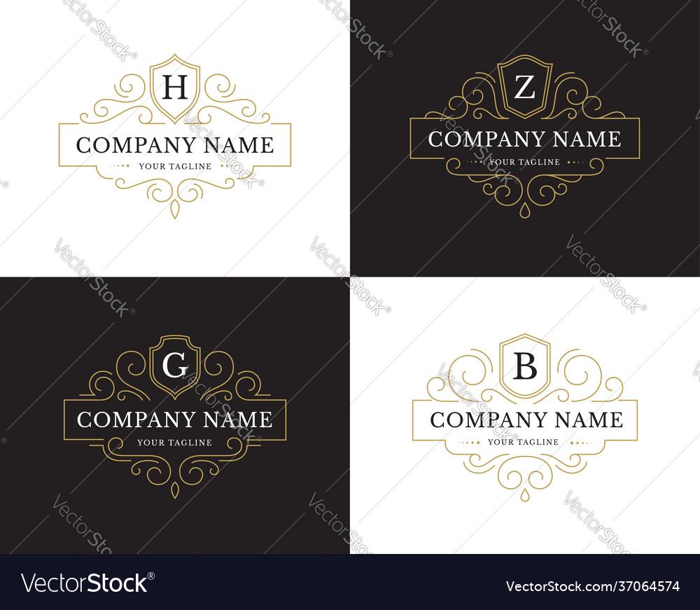 Set four luxury logo in vintage style