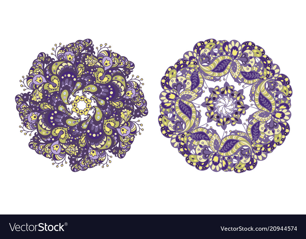 Set of 2 circle pattern elements in purple and