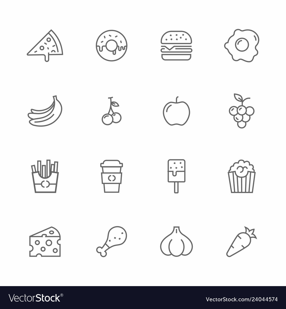 Set of food and fruits lines icons