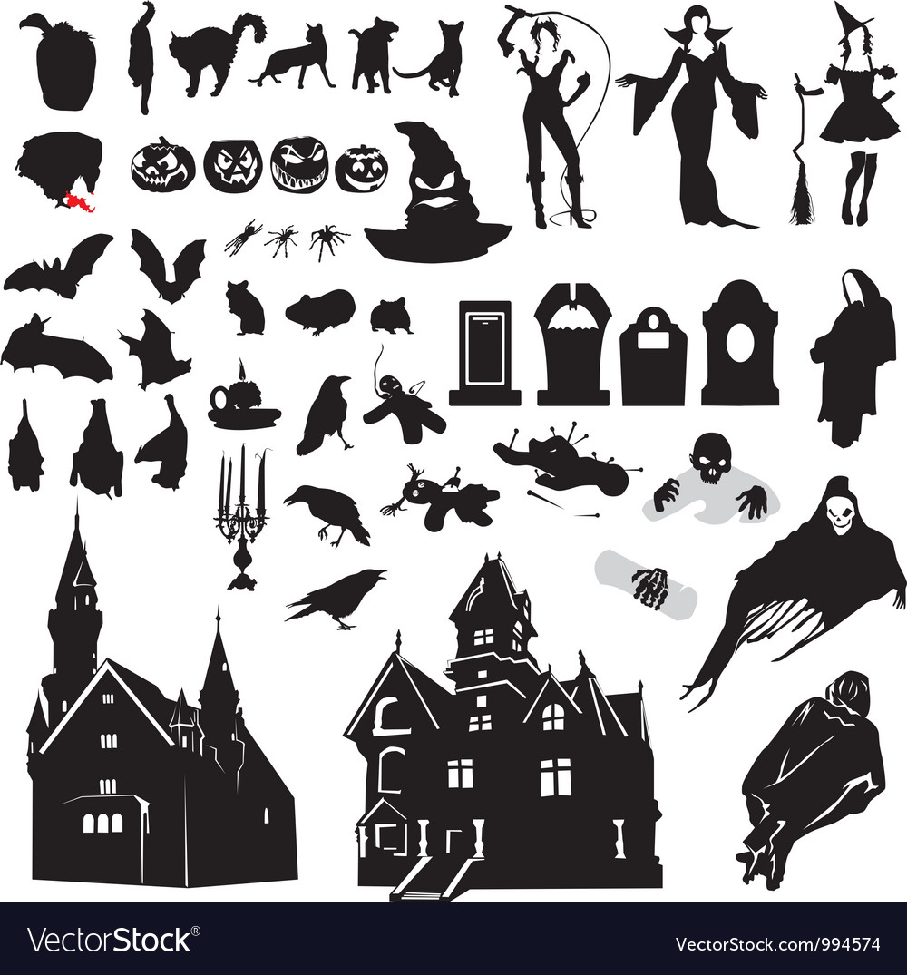Halloween Vector Black And White.Set Of Silhouettes Symbolizing Halloween
