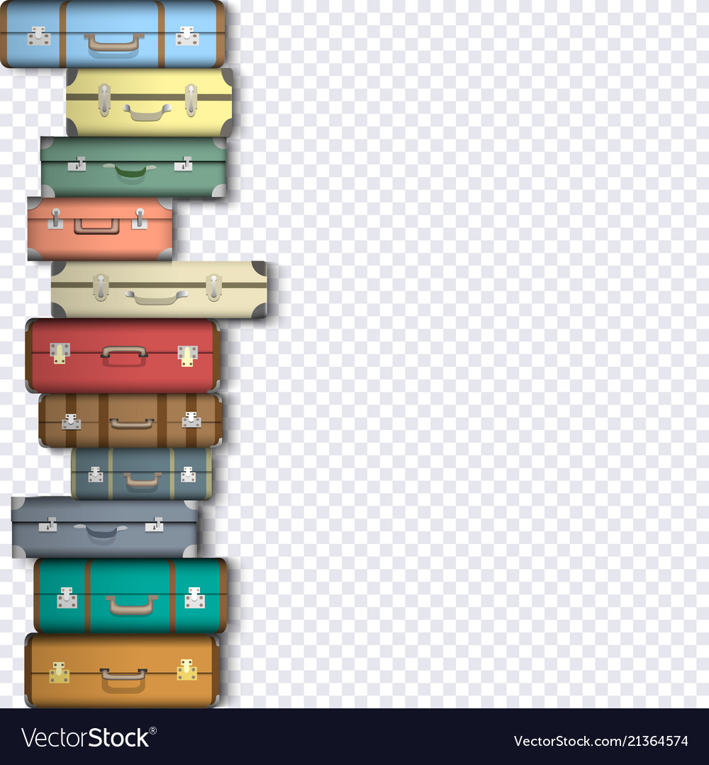 Set of suitcases on transparent background