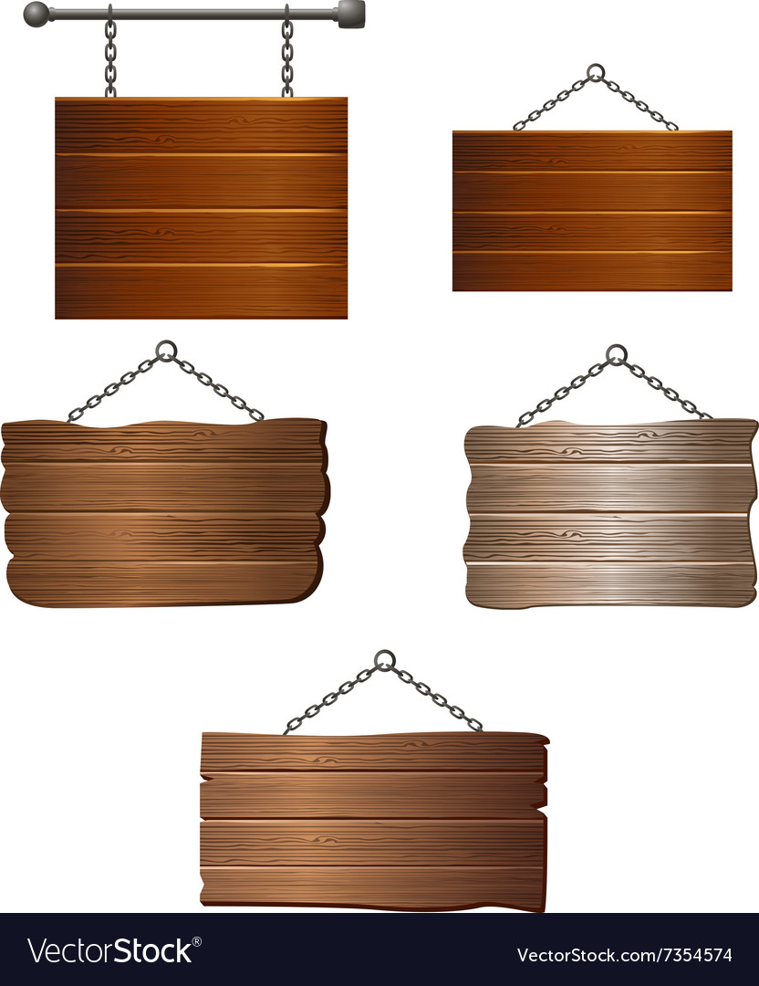 Set of Wooden board vector image
