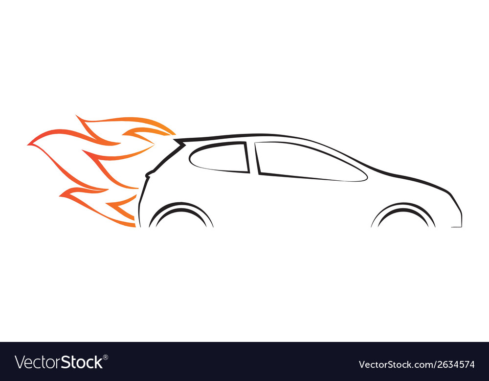 Silhouette of car with fire vector image