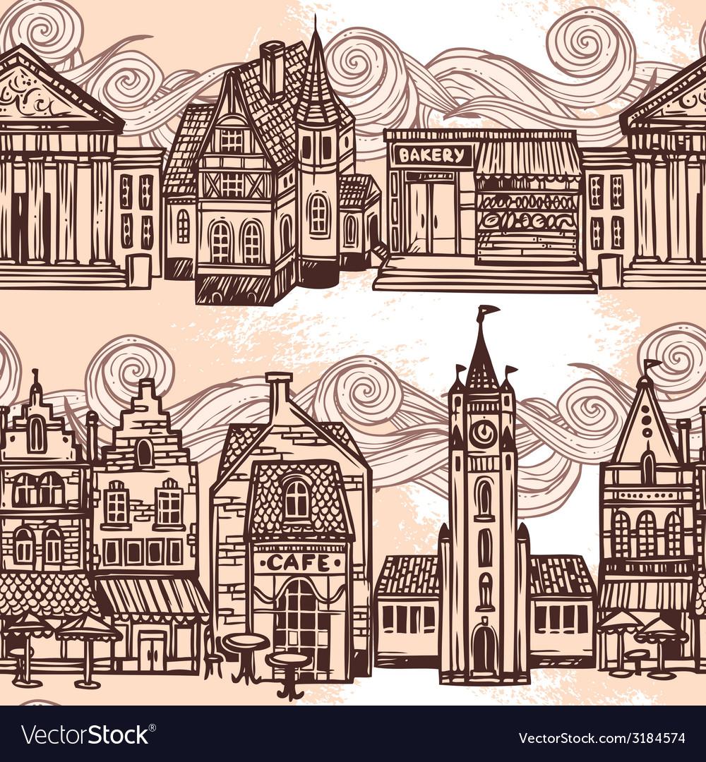 Sketch city seamless border black and white